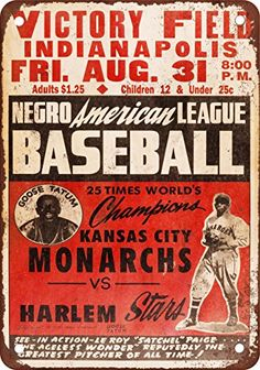 1947 Negro Leagues KC Monarchs vs Harlem Vintage Look Reproduction Metal Sign *** You can find more details by visiting the image link.