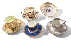 Selkirk Auctioneers & Appraisers | Full Details for Lot 79  WEDGWOOD CUP AND SAUCERS.  England, late 19th- early 20th century. Four sets of cup and saucer pairings, two with silver gilt decoration, one with gold gilt decoration, one dragon luster, along with collectors society colonnade dish.  Estimate $ 75-150