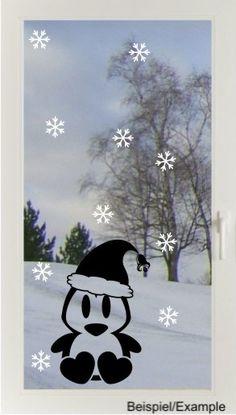 Weihnachtspinguin + Flocken - Fenster-Tattoo Set von DOON Germany auf DaWanda.com