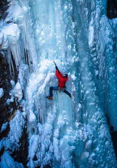Arc'teryx athlete Will Gadd ice climbing in the Canadian Rockies