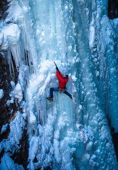 Arc'teryx athlete Will Gadd ice climbing in the Canadian Rockies
