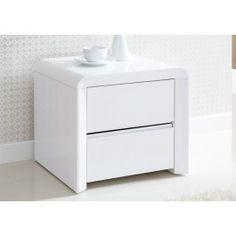 The Ice High Gloss 2 drawer bedside table in White has been designed to fit in with the Aden range and all our upholstered beds, providing these beds with a matching partner. Manufactured to the highest standard and made with top quality engineered timbe Table Furniture, Bedroom Furniture, Bedroom Decor, Bedroom Ideas, Bedside Lockers, Attic Renovation, Upholstered Beds, High Gloss, Bedside Tables