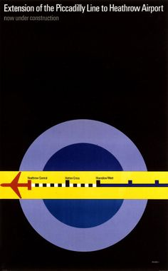 """Extension of the Piccadilly line to Heathrow"", Tom Eckersley, 1971"