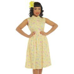 'Tallulah' Yellow Woodland Folk Print Swing Dress - from Lindy Bop UK