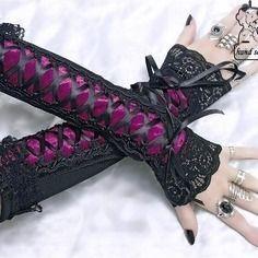 Longues gants manchettes avec laçage corset pour mariée de gothique 0680