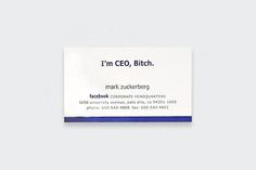 """Mark Zuckerberg's business card (From """"Business Cards Of The World's Most Famous People - DesignTAXI.com"""")"""