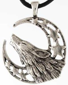 Wolf Necklace Howling Moon Celestial Amulet Jewelry