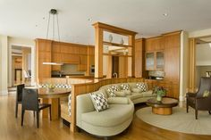 Open Concept Kitchen Living Room Design Ideas.  Clever space saving idea but not my taste but an idea to build on.