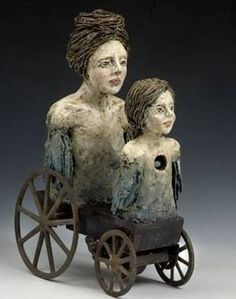 The Slow and Careful Earning of Trust Elissa Farrow-Savos uses polymer clay and found objects to tell stories, explaining that each scul. Found Object Art, Found Art, Sculpture Projects, Sculpture Clay, Sculpture Ideas, Maurice Careme, Paper Clay Art, Mixed Media Sculpture, Unusual Art