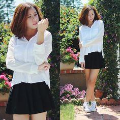 Hollister White Blouse, Forever 21 Black Pleated Skirt, Adidas Superstar 2