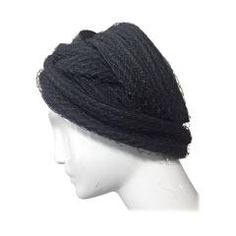 1960s Christian Dior Navy Blue Straw and Tulle Turban
