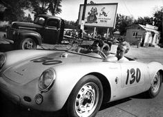 James Dean and his mechanic Rolf Wütherich in Dean's Porsche 550 Spyder, photographed the day of his fatal car crash. September 30th, 1955.