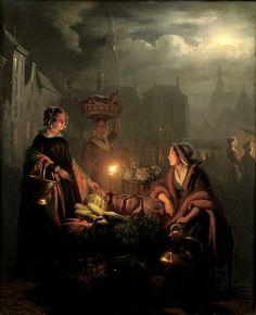 toutpetitlaplanete:    Petrus van Schendel - A Busy Night Market with Vegetable Stall, 1851