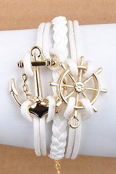 white nautical anchor bracelet♥✤ | Keep the Glamour | BeStayBeautiful