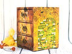 Gustav Klimt The Kiss Mini wooden chest drawers Tree of life