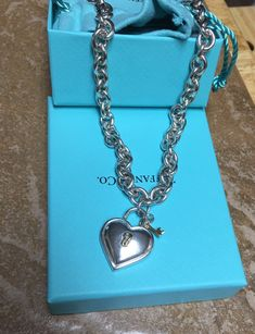 7de2cdfaf Tiffany & Co RARE 750/925 Heart padlock and key necklace -Vintage *Retired