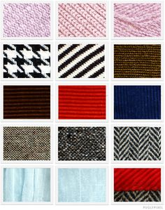 free download of 15 fabric textures. There are samples of stretch knit, curdoroy, tweed, herringbone, houndstooth, and silky satin