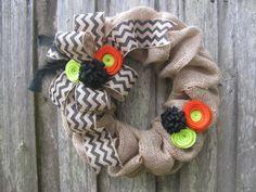 "15"" Fall Halloween Burlap Wreath with Black Chevron Ribbon, Orange & Green Felt Flowers on Etsy, $45.00"