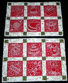 Christina Lynn - I need these! How can we make this happen?  Advanced Embroidery Designs. Free Projects and Ideas. Quilted Christmas Placemats with machine embroidery.