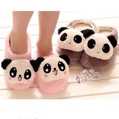 Panda Slippers. Cozy. <3  #cute #kawaii