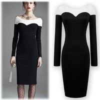 New Stylish and Sexy Scoop Neck Exposed Collarbone Long Sleeve Women's Pencil Dress (Size XS)