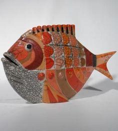 MAN OF EARTH Poisson K large émaillé Céramique d'art Raku Les poissons statues et décoration céramique d art - Paris France