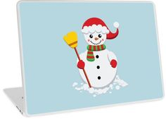 'Snowman with green and red scarf holding yellow broom' Laptop Skin by duyvolap Red Scarves, Canvas Prints, Art Prints, Laptop Skin, Chiffon Tops, Vinyl Decals, Snowman, Vibrant Colors, Hold On