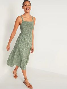 Smocked Fit & Flare Cami Midi Dress for Women | Old Navy Cami Midi Dress, Smock Dress, Midi Dresses, Tank Dress, White Floral Dress, Floral Midi Dress, Flare Skirt, Fit Flare Dress, Mini Dresses For Women