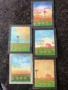 Sunflower fields color layering scape Sunflower Fields, Lavender Fields, Card Ideas, Diy Ideas, Hero Arts Cards, Autumn Cards, Lawn Fawn, Halloween Cards, Handmade Cards