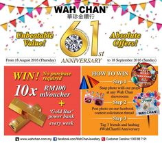 18 Aug-18 Sep 2016: Wah Chan Gold & Jewellery 61st Anniversary Special