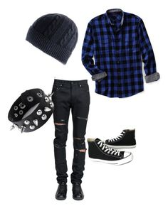 """emo boy"" by olivmccoy ❤ liked on Polyvore featuring Lands' End, Yves Saint Laurent, Converse, Black, men's fashion, menswear, plaid and WardrobeStaples"