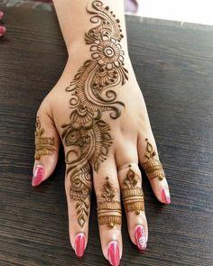 Latest Simple and Easy Mehandi Design Mehandi Design for Wedding - Fashion Finger Henna Designs, Mehndi Designs For Girls, Mehndi Design Pictures, Best Mehndi Designs, Mehndi Images, Mehandi Designs, Mehandi Henna, Henna Art, Mehendi