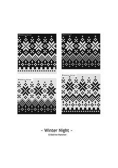 Knitting Pattern Winter Night Beanie Hat by silverishmoon Fair Isle Knitting Patterns, Knitting Charts, Knitting Stitches, Knit Patterns, Stitch Patterns, Motif Fair Isle, Fair Isle Chart, Fair Isle Pattern, Life Symbol
