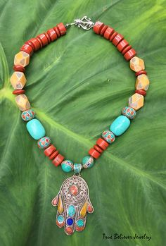 Colorful Nepalese Beaded Hamsa Necklace