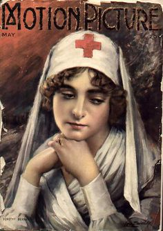 World War One Red Cross nurse on cover of vintage Motion Picture magazine.