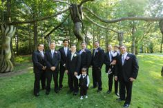 Sculptures and sharply-dressed groomsmen mark NJ groom Aaron's wedding at the Grounds for Sculpture in Hamilton. Michael Dempsey Photography