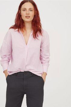 Oversized skjorta i linnemix - Ljusrosa/Vitrandig - DAM   H&M SE 1