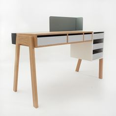 """Reinhard Dienes Studio designed the """"Capa"""" desk aka. """"Layers"""" desk for design company Foundry Collection, Table Furniture, Office Furniture, Home Furniture, Modern Furniture, Furniture Dolly, Bureau Design, Design Desk, Coffee Table Design, Coffee Tables"""