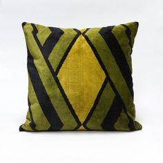 Green graphic Mid Century velvet upholstery fabric by EllaOsix