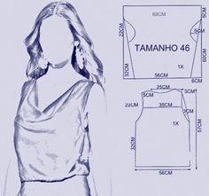 vamos combinar: molde blusa com decote drapeado fácil