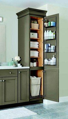 ideas bathroom closet remodel home Wood Bathroom, Bathroom Shelves, Bathroom Cabinets, Kitchen Cabinets, Bathroom Pink, Vanity Bathroom, Laundry Shelves, Bathroom Layout, Vanity Shelves