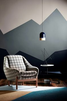 Get decorative wall Painting ideas and creative design tips to colour your interior home walls with Berger Paints. check out Inspirational wall design tip for interior walls. Wall Paint Patterns, Wall Paint Colors, Color Walls, Geometric Wall Paint, Geometric Form, Modern Wall Paint, Geometric Mountain, Geometric Designs, Diy Wall Painting