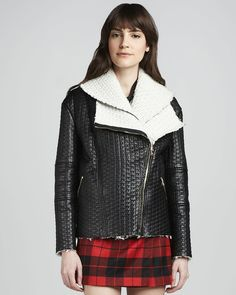 Motorcycle: Alice + Olivia Carrie Textured-Leather Double-Collar Jacket ($1,496)