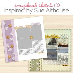 Scrapbook Page Sketch and Layered Template Scrapbook Sketches, Scrapbook Page Layouts, Scrapbook Pages, Scrapbooking, Photo Sketch, Photo Layouts, Layout Design, Tutorials, Memories