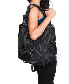 RAGE CAGE Black Leather Hobo Bag - SALE - by JungleTribe on Etsy https://www.etsy.com/listing/112289060/rage-cage-black-leather-hobo-bag-sale