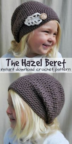 Crochet Blusas Patterns Lovely little hat for a lovely little girl! Super sweet crochet pattern looks easy to make with a beautiful little leaf applique fastened with a wooden button! Crochet Beanie Pattern, Crochet Kids Hats, Crochet Beanie Hat, Diy Crochet, Hand Crochet, Knitted Hats, Learn Crochet, Crochet Pouch, Crochet Headbands