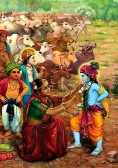 Mother #Yashoda Garlands #Krishna She gave Him a thorough looking over and adjusted His clothes and the other things He had on