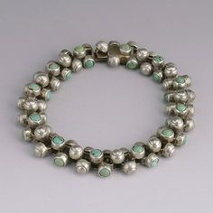 "Bracelet | William Spratling ""Caviar"" Silver and Turquoise.  ca. 1940s, Mexico #silver turquoise 1940s jewelrydesign timeless"