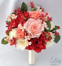 red and cream wedding floral decorations