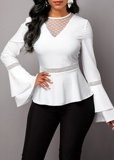 Women'S White Flare Long Sleeve Ruffle Hem Blouse Solid Color Round Neck Work Top By Rosewe Round Neck Flare Sleeve Lace Panel Blouse Stylish Tops For Women, Trendy Tops For Women, Blouses For Women, Blouse Styles, Blouse Designs, Trouser Outfits, Sleeveless Jacket, Casual Tops, Fashion Outfits